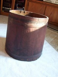 primitive, vintage red wooden sap bucket maple syrup