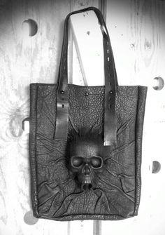 Devastating molded leather skull tote by Dmitry Byalik NYC