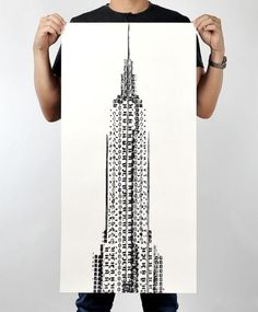 The Empire State Building Printed with Bicycle Tires