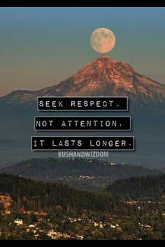 Wisdom Quotes : seek respect not attention Great Quotes, Quotes To Live By, Inspirational Quotes, Awesome Quotes, Think, Words Worth, To Infinity And Beyond, Quotable Quotes, Words Quotes