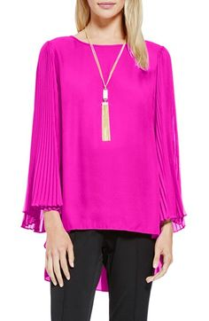 Vince Camuto Pleat Sleeve High/Low Blouse available at #Nordstrom