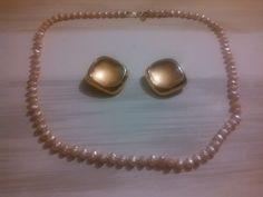 Les Bernard Costume Pearl Necklace & Clip on Earrings