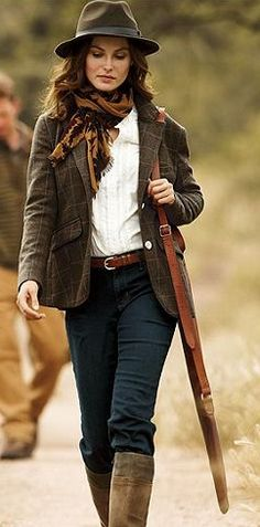 Fall fashion, nice autumn look, warm jacket, hat scarf jeans and boots.