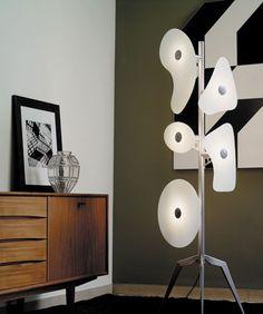 The iconic Orbital floor lamp from Foscarini, in white, or modern brights  http://www.italian-lighting-centre.co.uk/italian-glass-crystal/ferrucio-laviani-orbital-light-foscarini-p-2270.html#.VQ_21-GoNs1