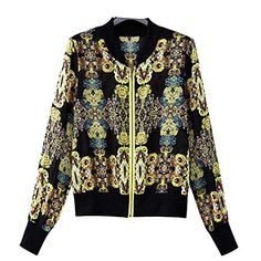 Enlishop Womens Long Sleeve Zip Up Print Bomber Varsity Jackets ** Continue to the product at the image link. (This is an affiliate link)