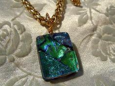 Beautiful Green, Blue, & Lavender Fused Glass Pendant