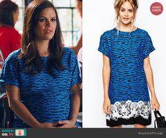 Zoe's blue tiger stripe dress on Hart of Dixie.  Outfit Details: http://wornontv.net/46195/ #HartofDixie