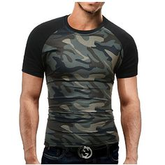 20cacef5ade Men s Sports Military Plus Size Cotton Slim T-shirt - Camouflage Print  Round Neck   Short Sleeve   Summer 2018 - US  12.64