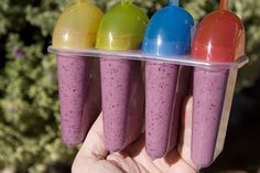 home made frozen smoothie pops for a healthy and nutritious snack or treat! Yum!