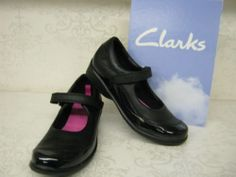 Clarks Girls Daisy Chain Black Leather & Patent Velcro School Shoes