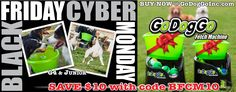 •BLACK FRIDAY CYBER MONDAY SALE @ GoDogGoInc.com• Use COUPON Code BFCM10  SAVE $10 on GoDogGo G4 & JR Fetch Machines, the World's First Fetch Machine & Original, Award Winning Automatic Ball Launcher for Dogs.   *Plus receive 2 bonus balls for extra fetching fun! (1 SuperFetch Sport Ball & 1 HeavyWeight Ball)  #BallCrazy #Dogs love to fetch with #GoDogGo & is on every fetch-crazy pup's #Christmas2016 Santa list this year.  #FetchOn now so Santa can be sure to load GoDogGo in his sleigh for