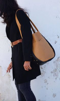 RESERVED FOR OA - Leather Tote Bag Camel and Black  Large Shoulder Bag with  Exterior Pockets Tan Leather Carry All – SMaroCamBlkEL1 a2b759fd0b