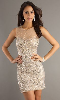 Nude Sequin Dress by Morgan 3004  at SimplyDresses.com