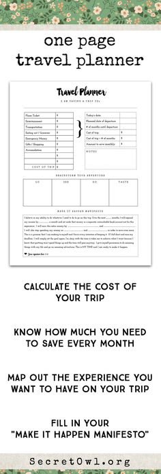 This printable is a part of the Ultimate Life Binder Kit. Take out all of the mystery of planning your next trip with this one page printable. Proper planning can help you get on the plane to your next adventure sooner and more often!