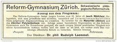 Original-Werbung/ Anzeige 1910 - REFORM - GYMNASIUM ZÜRICH - ca 140 x  50 mm