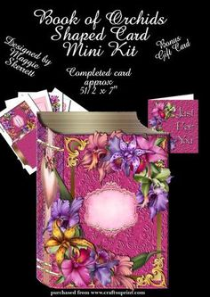 Book of Orchids Shaped Card plus Gift Card  on Craftsuprint - Add To Basket!