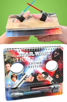 The Star Wars Lightsaber Thumb Wrestling game book provides multiple arenas for epic lightsaber thumb duels. GetdatGadget.com