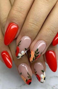 Red Acrylic Nails, Acrylic Nail Designs, Red Nail Designs, Red Gel Nails, Cute Nail Art Designs, 3d Nails, Blue Nails, Nail Art Flowers Designs, Cute Toenail Designs