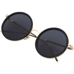 Black Round Frame Metallic Arms Sunglasses