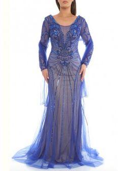 Langarm Pailletten 2017 Abendkleid Elisa Blau