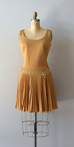 vintage 1960s dress / metallic 60s dress / Golden by DearGolden, $118.00
