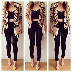 Casual Black Skinny's & Crop Top Accessorized W/ Floral Blazer, Nude Gold Glitz Clutch & Nude Pumps, Exp Of How Accessories Really Do Make Or Break An Outfit