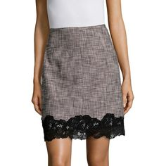 Rebecca Taylor Slub Lace-Trimmed Mini-Skirt (1.130 BRL) ❤ liked on Polyvore featuring skirts, mini skirts, mini skirt, scallop hem mini skirt, lace trim skirt, scalloped lace mini skirt and lace skirt