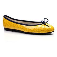 London Sole henrietta yellow patent croc ballet flats