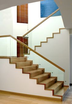 - Home Design Glass Handrail, Glass Stairs, Wood Stairs, House Stairs, Railing Design, Staircase Design, Floating Staircase, Stair Lighting, Staircase Railings