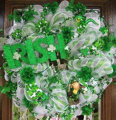 ST PATRICK'S DAY Deco Mesh Wreath by decoglitz on Etsy