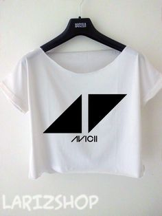 avicii DJ triangle logo printed cropped tee women by larizshop, $16.00