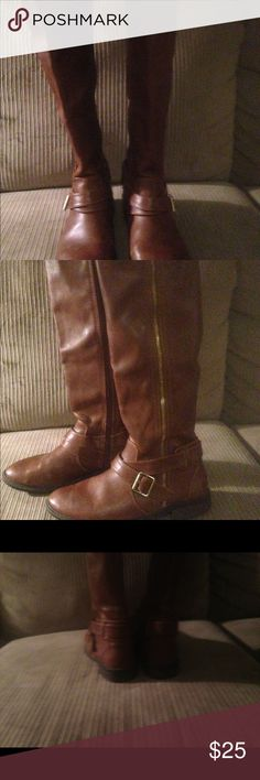 Dolce Vita Brown  riding boots size 8 Dolce Vita brown riding boots great pre owned condition Sz 8 straps stacked heel Dolce Vita Shoes Winter & Rain Boots