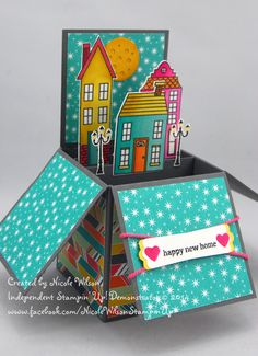 3d box card - Holiday Home stamps and framelits stampin up supplies  www.facebook.com/NicoleWilsonStampinUp www.nicolejuliewilson.blogspot.com