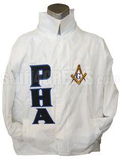 Prince Hall Mason Square & Compass Line Jacket, White Item Id: PRE-XJ-MASON_PHA_LTR_SQR_COMPASS_WHT Price: $79.00