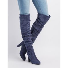 588f30a2fef Charlotte Russe Faux Suede Almond Toe Over-The-Knee Boots ( 29) ❤