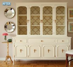Honey Sweet Home: Drab to Fab China Cabinet Makeover Painted China Cabinets, Painted Hutch, Painted Furniture, Patterned Furniture, Painted Buffet, Painted Chest, Hutch Makeover, Furniture Makeover, Hutch Redo