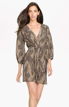 Amanda Uprichard 'Tina' Surplice Silk Blouson Dress available at #Nordstrom