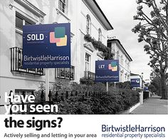 Estate agency marketing targeting a particular area with regency style housing stock with this black and white street scene.