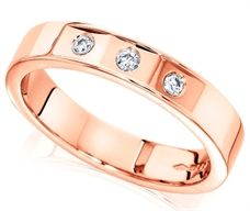 House of Williams 18ct Pink Gold Ladies 4mm Wedding Ring with 3 Flat Cuts and a Diamond Set in Each, Total Weight 9pts