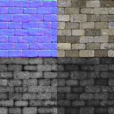 "PHILIPK.NET - OLD TILES WALL TUTORIALThe final maps with the normal map using the overlays seen above. The diffuse is a bit color and contrast adjusted, but you really get most of the diffuse done from just the ambient occlusion bake. In the specular and glossiness maps I darkened the seams and put an ""Outer Glow"" using a dark color and setting it to ""Multiply"" to get some rougher edges. I also kept the specular pretty contrasted."