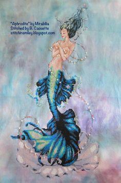 Mermaid Cross Stitch, Mermaid Art, Aphrodite, Knitting Stitches, Cross Stitching, Needlepoint, Cross Stitch Patterns, Mermaids, Fantasy