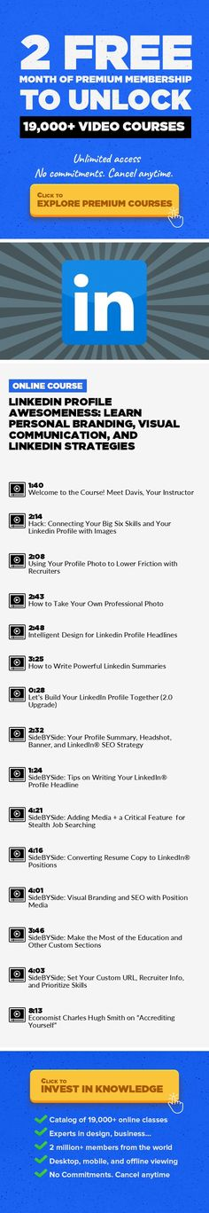 LinkedIn Profile Awesomeness: Learn Personal Branding, Visual Communication, and LinkedIn Strategies Home Business, Health & Wellness, Lifestyle, LinkedIn, Social Media, Career Development #onlinecourses #onlinebusinesswebsite #onlinebusinessopportunities   BIG UPGRADE for 2018|| New Content for LinkedIn® Post-Microsoft Acquisition Note: This courseuses some concepts from Eazl's resume writin...