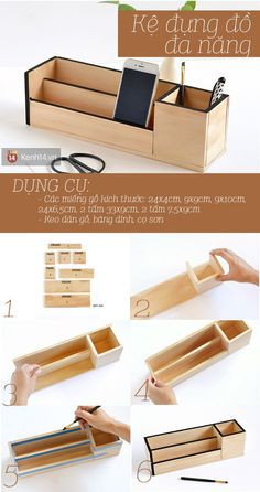 2 ways just grafting wood also has shelves, extremely nice tray - - Desk Organization Diy, Diy Desk, Diy Storage, Table En Bois Diy, Diy Table, Diy Home Crafts, Wood Crafts, Bedroom Crafts, Carton Diy
