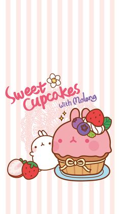 Sweet Cupcakes with Molang. Art Kawaii, Cute Animal Drawings Kawaii, Mode Kawaii, Kawaii Chibi, Cartoon Drawings, Cute Drawings, Kawaii Anime, Cute Backgrounds, Cute Wallpapers