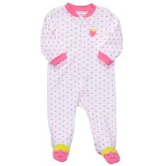 "Carter's Girls "" Little Strawberry"" 1-Piece Footie Pajama Sleepwear, Pink Green and Blue, Size: 9 months « Clothing Impulse"