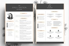 3 page Resume + Business Card by Emily's ART Boutique on @creativemarket