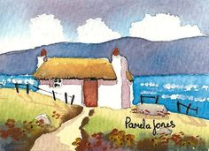 ACEO Original Watercolour Connemara by Pamelajonesartstudio