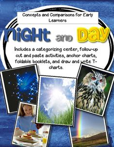 This is a categorizing center, plus 3 follow-up cut and paste activity pages, plus 2 anchor charts, plus 2 foldable mini booklets, plus 2 T-chart drawing/writing pages, exploring the concept and vocabulary of night/day for early learners. *6 new pages added Jan 2016.