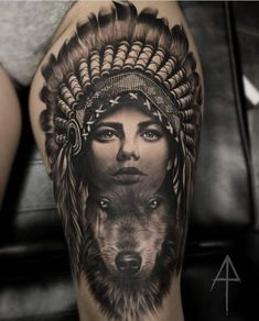 My realistic black and grey, shaman lady and wolf tattoo. I've alwys wanted to tattoo a wolf, but didnt want to do without any meaning. After researching what Native American Wolf, Native American Tattoos, Native Tattoos, Bild Tattoos, Leg Tattoos, Body Art Tattoos, Sleeve Tattoos, Tattos, Trendy Tattoos