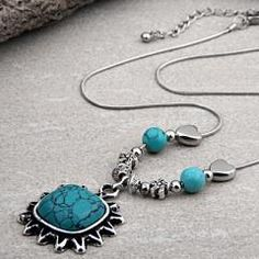 Tibet Silver Turquoise Pendant Necklace Chain